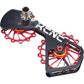 KCNC Jockey Wheel System SUS para Shimano 10S/11S 14+16 dientes, negro/rojo